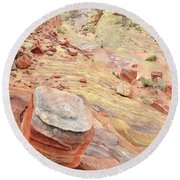 Wash 3 Color In Valley Of Fire Round Beach Towel