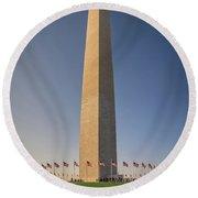 Washington Dc Memorial Tower Monument At Sunset  Round Beach Towel