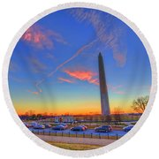 Washington Monument Sunset Round Beach Towel