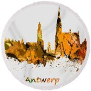 Watercolor Art Print Of The Skyline Of Antwerp In Belgium Round Beach Towel