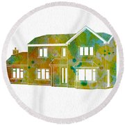 Watercolor House Round Beach Towel