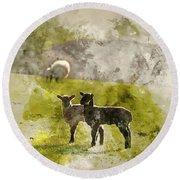 Watercolor Painting Of Beauitful Landscape Image Of Newborn Spri Round Beach Towel