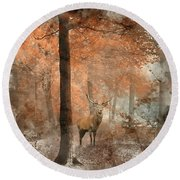 Watercolour Painting Of Beautiful Image Of Red Deer Stag In Fogg Round Beach Towel