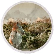 Watercolour Painting Of Beauttiful Close Up Of New Forest Pony H Round Beach Towel