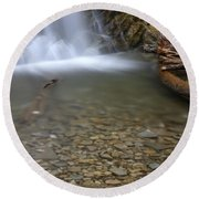 Waterfall, Quebec Round Beach Towel