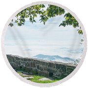 Wayah Bald Observation Tower - Macon County, North Carolina Round Beach Towel
