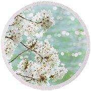 White Cherry Blossoms Trees Round Beach Towel