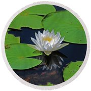 2- White Water Lily Round Beach Towel