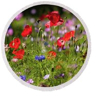 Wild Flowers And Red Poppies Round Beach Towel