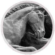 Wild Mustang Statue I V Round Beach Towel
