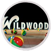 Wildwood's Sign At Night On The Boardwalk  Round Beach Towel