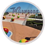 Wildwood's Sign, Boardwalk Wildwood, Nj. Copyright Aladdin Color Inc. Round Beach Towel