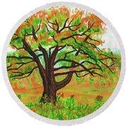 Willow Tree, Painting Round Beach Towel