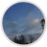 Windmill At Dusk Round Beach Towel