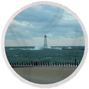 Winter Waves Round Beach Towel