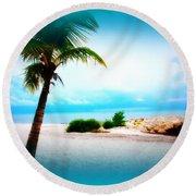 Wish You Were Here Round Beach Towel