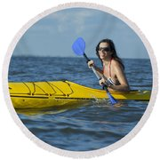 Woman Kayaking Round Beach Towel