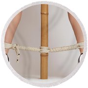 Woman Legs Tied With Ropes To Bamboo Round Beach Towel