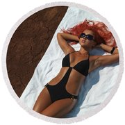 Woman Sunbathing Round Beach Towel
