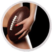 Woman With A Football Round Beach Towel