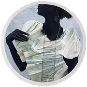 Woman With Black Boby Paint In Paper Dress Round Beach Towel