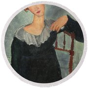 Woman With Red Hair Round Beach Towel