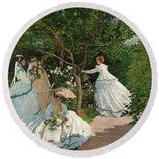 Women In The Garden Round Beach Towel