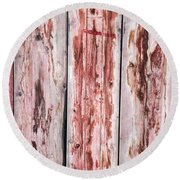 Wood Background With Faded Red Paint Round Beach Towel