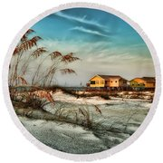 2 Yellow  Beach Houses At Mobile Street Round Beach Towel