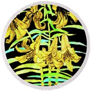 Yellow Lilies, Hand Drawn Painting Round Beach Towel