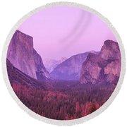 Yosemite Pink Sunset Round Beach Towel