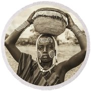 Young Boy From The African Tribe Mursi, Ethiopia Round Beach Towel