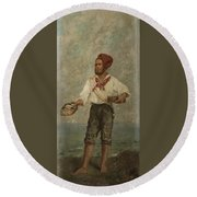 Young Fisherman In The Gulf With Capri At A Distance Round Beach Towel