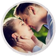 Young Romantic Couple Kissing With Love In Summer Park Round Beach Towel