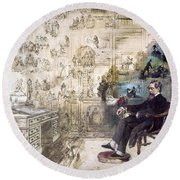 Charles Dickens 1812-1870.  To License For Professional Use Visit Granger.com Round Beach Towel