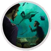 20000 Leagues Under The Sea Round Beach Towel