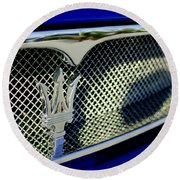 2002 Maserati Hood Ornament Round Beach Towel