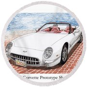 2003 Corvette Prototype Round Beach Towel