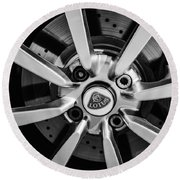 2005 Lotus Elise Wheel Emblem -0079bw Round Beach Towel