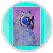 2009 Owl Negative Round Beach Towel