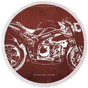 2011 Speed Triple Triumph Motorcycle Blueprint Red Background Artwork Christmas Gift For Men Round Beach Towel