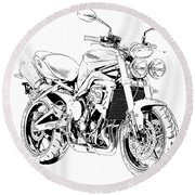 2011 Triumph Street Triple, Black And White Motorcycle Round Beach Towel