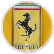 2012 Ferrari Hood Emblem Round Beach Towel