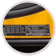 2012 Mc Laren V. I. N. Tag Round Beach Towel