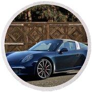 2014 Porsche 911 Targa 4s I Round Beach Towel
