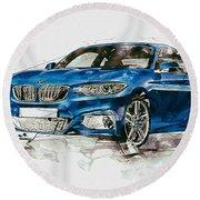 2014 B M W 2 Series Coupe With 3d Badge Round Beach Towel