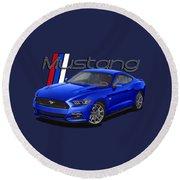 2015 Blue Mustang Round Beach Towel