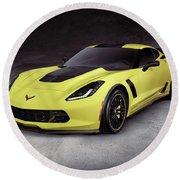 2016 Chevrolet Corvette Z06 Coupe Sports Car Round Beach Towel