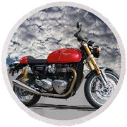 2016 Triumph Cafe Racer Motorcycle Round Beach Towel