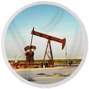 2016_10_pecos Tx_pump Jacks 2 Round Beach Towel